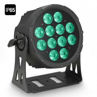 Cameo FLAT PRO 12 IP65 12 x 10 W FLAT LED RGBWA Outdoor PAR Scheinwerfer in schwarzem Gehäuse