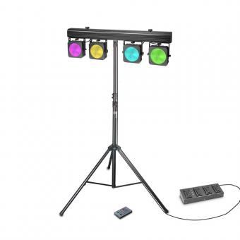 Cameo Multi PAR COB 1 SET Set mit 4 x 30 W RGB COB LED Lichtanlage mit Transportcase, 4-Fach Fußpedal und Stativ