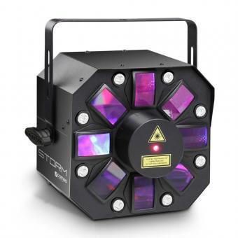 Cameo STORM 3 in 1 Lichteffekt, 5 x 3W RGBAW Derby, Strobe und Grating Laser