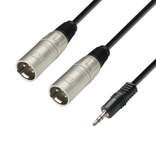 Adam Hall K3 YWMM 0600 - Audiokabel 3,5 mm Klinke stereo auf 2 x XLR Buchse 6 m