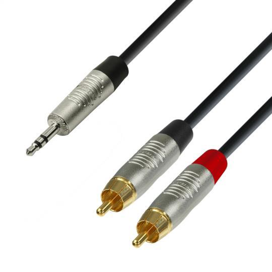 Adam Hall K4 YWCC 0300 - Audiokabel REAN 3,5 mm Klinke stereo auf 2 x Cinch male 3 m