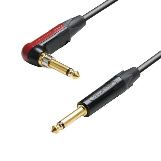 Adam Hall K5 IRP 0900 SP - Instrumentenkabel Neutrik silentPLUG 6,3 mm Winkelklinke mono auf 6,3 mm Klinke mono 9 m
