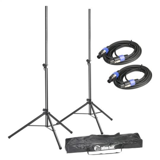Adam Hall SPS 023 SET 2 Set aus 2 Boxenständern mit Tasche und Standard Lautsprecherkabeln