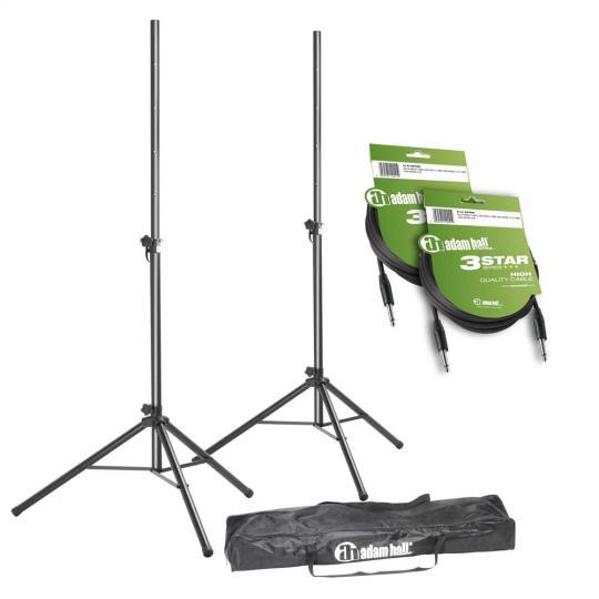 Adam Hall SPS 023 SET 4 - Set aus 2 Boxenständern mit Tasche und 2 Lautsprecherkabeln 6,3 mm Klinke