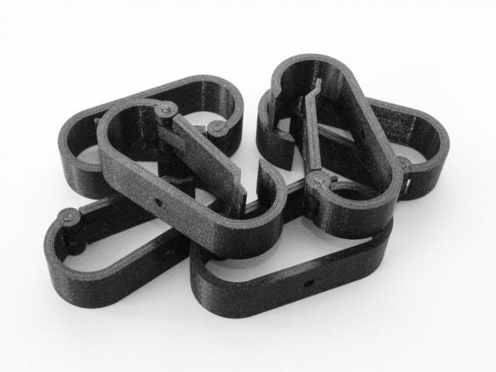 RS-3D Kabelhalterung Untertisch - Wandmontage mit Scharnier - 60 x 28 mm Farbe schwarz 6er Set