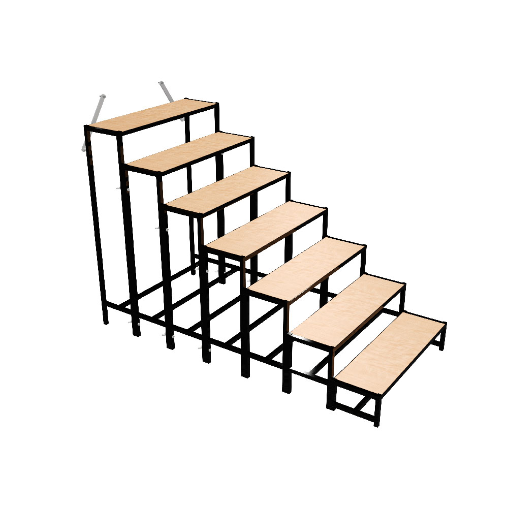 b tec 500711003020 treppe stahl 7 stufig f r podeste bis zu 160 cm h he. Black Bedroom Furniture Sets. Home Design Ideas