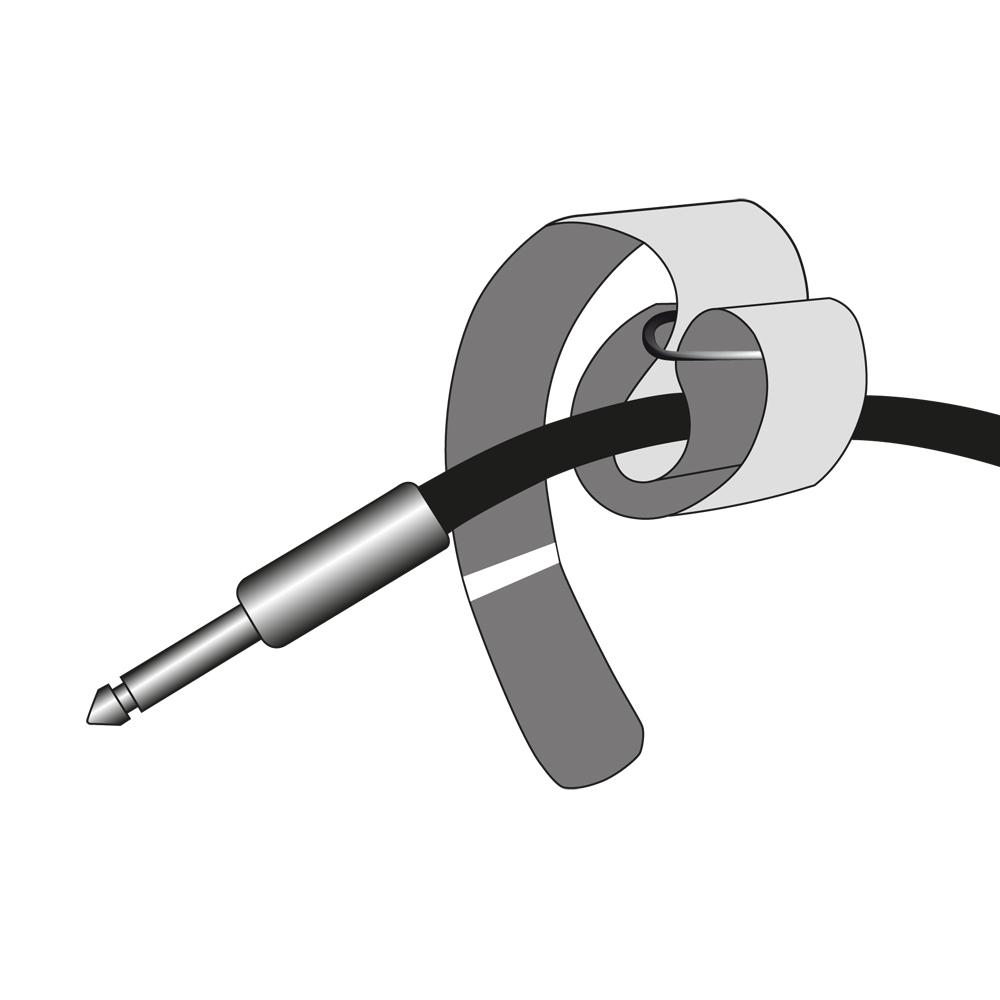 10 Klettkabelbinder mit Öse 300 x 25 mm schwarz Kabelbinder Klettband Kabelklett