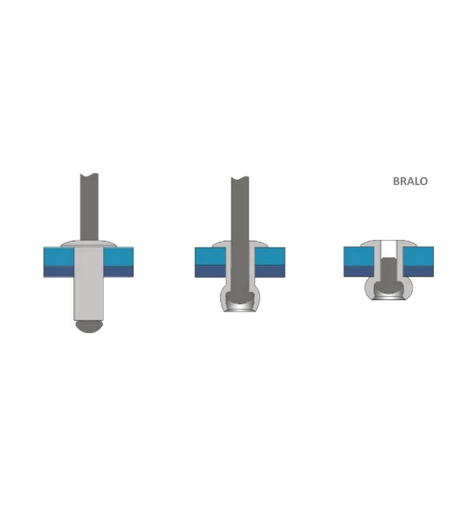100x Blindniete für weiche Materialien 4,8 x 16 mm Bralo 55944816